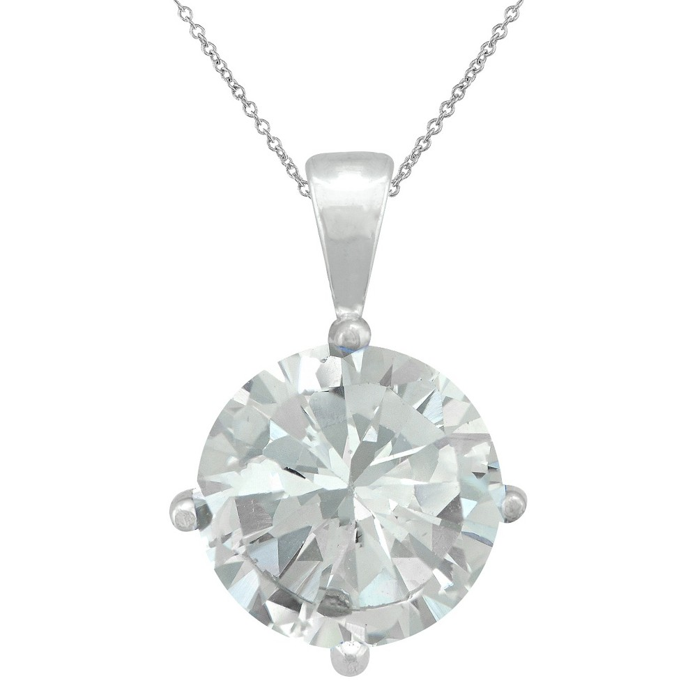 Women's Sterling Silver 10mm Round Crystal Pendant - White (18)
