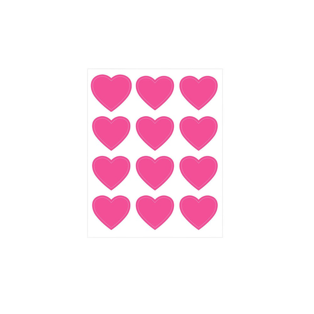 Image of 12 sheets 144ct Hearts Stickers Pink - Spritz