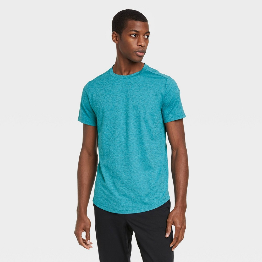 Men 39 S Short Sleeve Soft Stretch T Shirt All In Motion 8482 Teal Heather Xxl