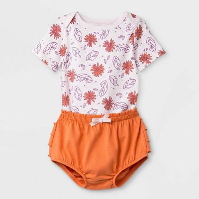 Baby Girls' 2pc Short Sleeve Flowers Top and Bottom Set - Cat & Jack™ Light Pink/Brown Newborn