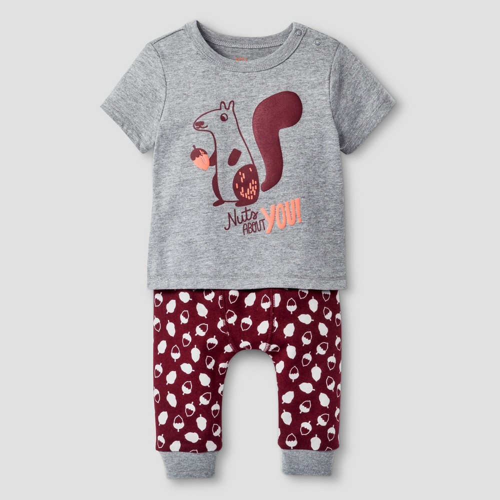 Baby Boys' 2pc Squirrel Set - Cat & Jack Gray/Acorn 12M