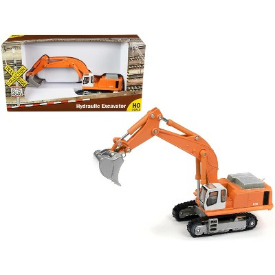 """Hydraulic Excavator Orange """"TraxSide Collection"""" 1/87 (HO) Scale Diecast Model by Classic Metal Works"""