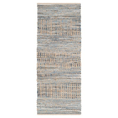 Bari Natural Fiber Accent Rug - Natural / Blue (2'3  X 12')- Safavieh®