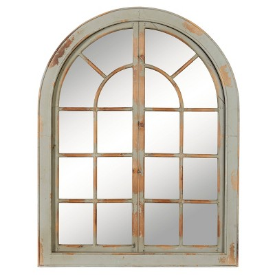 "48"" x 37"" Farmhouse Classic Arched Window Design Decorative Wall Mirror - Olivia & May"
