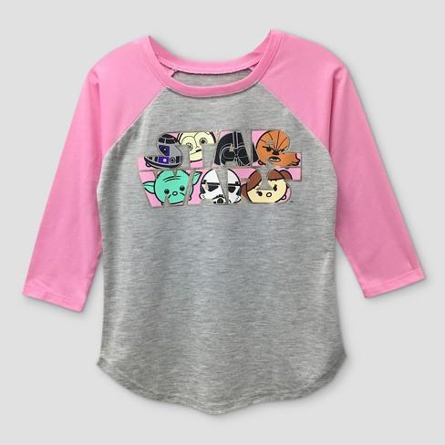 65a70612b Girls' Star Wars 3/4 Sleeve Raglan T-Shirt - Heather Gray/Pink : Target