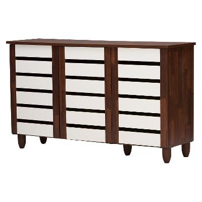 Gisela 2-tone Shoe Cabinet With 3 Doors - Oak/White - Baxton Studio