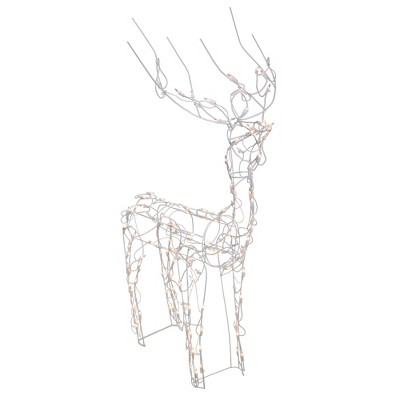"Brite Star 46"" White Lighted Standing Buck Outdoor Christmas Decoration"