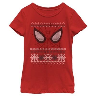 Girl's Marvel Ugly Christmas Spider-Man Mask T-Shirt