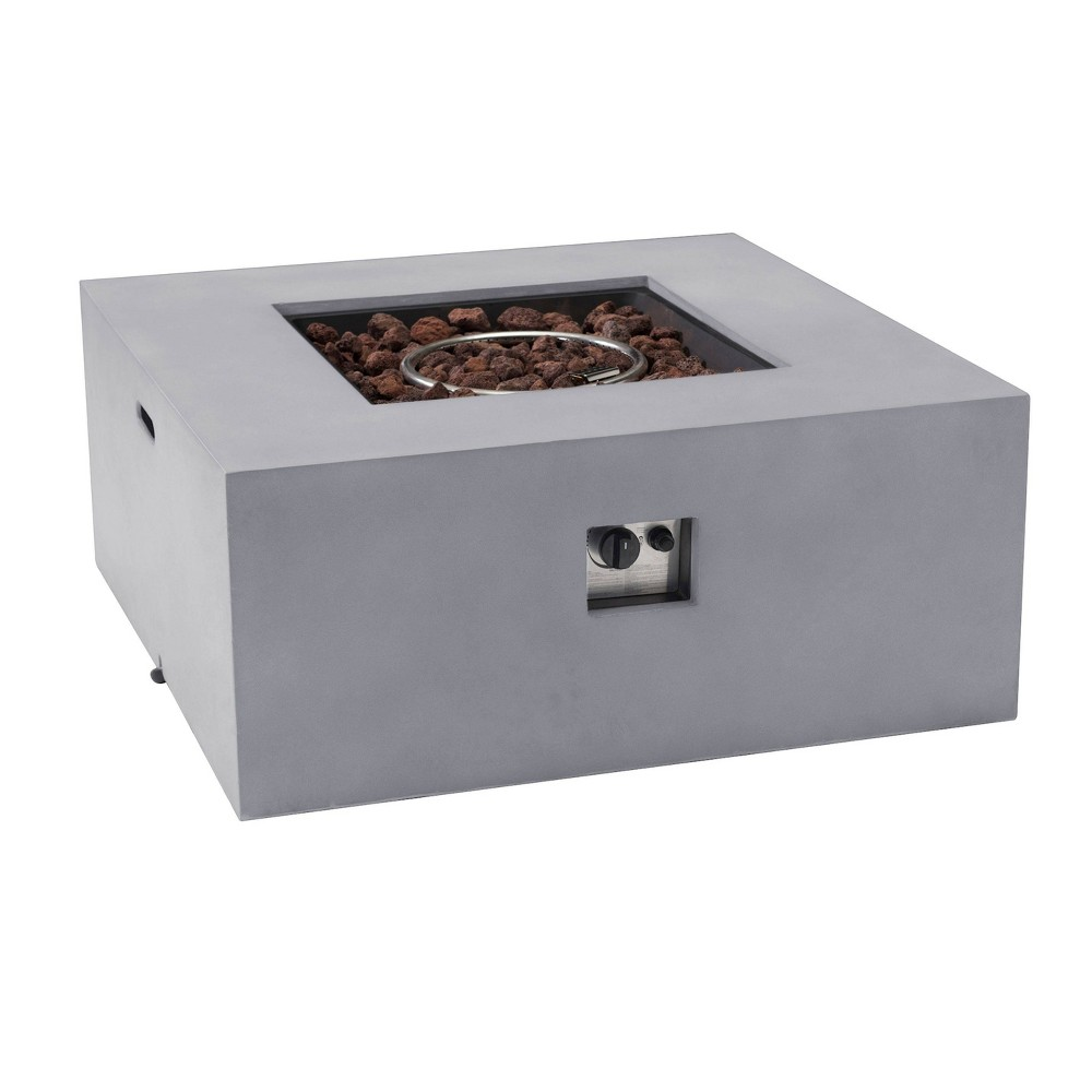 "Image of ""Jamboree 36"""" Outdoor Square Gas Stone Firepit - Sunjoy"""