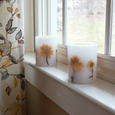2ct Dried Flowers LED Flickering Candle