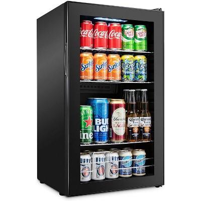 Ivation 126 Can Beverage Refrigerator   Freestanding Ultra Cool Mini Drink Fridge   Beer, Cocktails, Soda, Juice Cooler for Home & Office   Reversible Glass Door & Adjustable Shelving