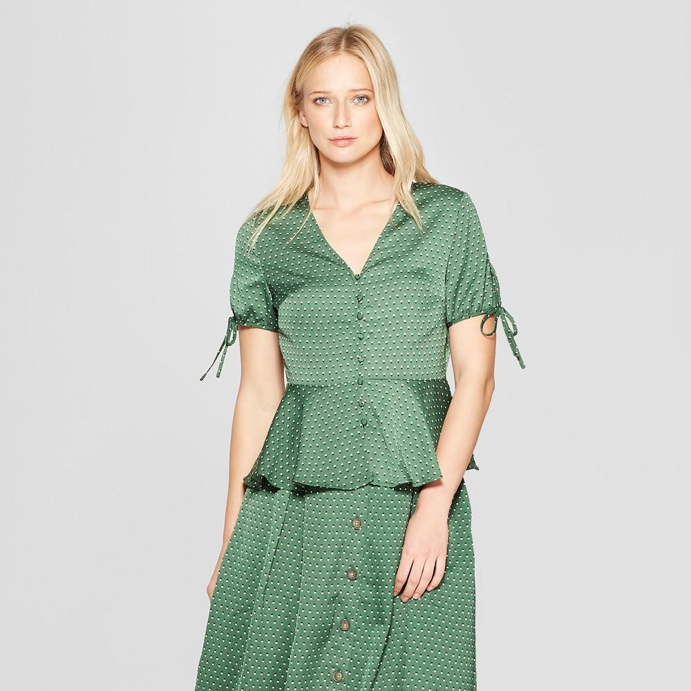 Women's Polka Dot Short Tie Sleeve Button Detail Peplum Top - Who What Wear Green XL