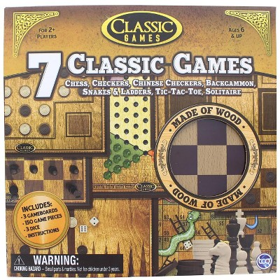 The Canadian Group Classic Games Wood 7 Classic Games Set | 3 Boards & 150 Game Pieces
