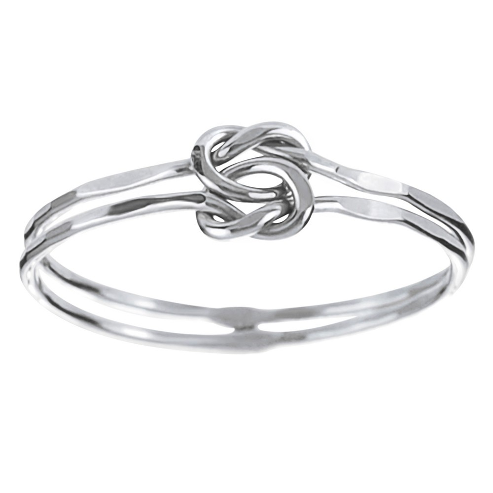 Women's Journee Collection Handcrafted Double Band Knot Ring in Sterling Silver - Silver, 6