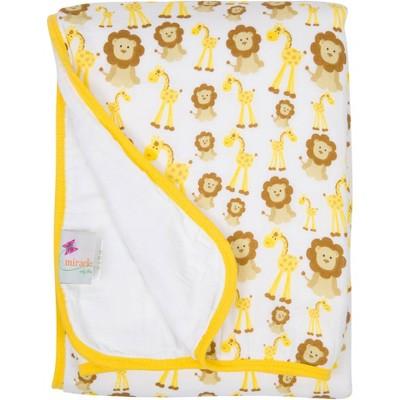 MiracleWare Giraffe & Lions Muslin Baby Blanket Dark Yellow