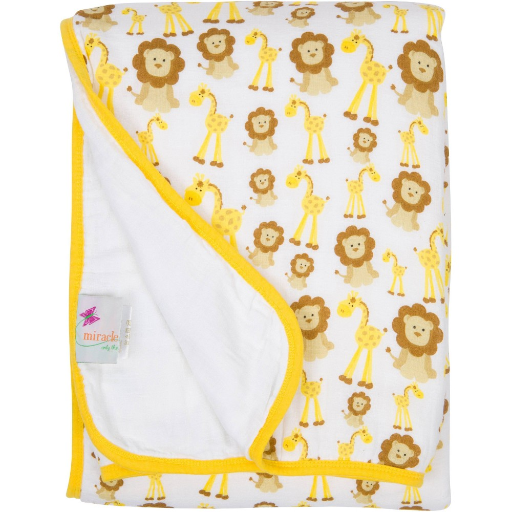 Image of MiracleWare Giraffe & Lions Muslin Baby Blanket Dark Yellow