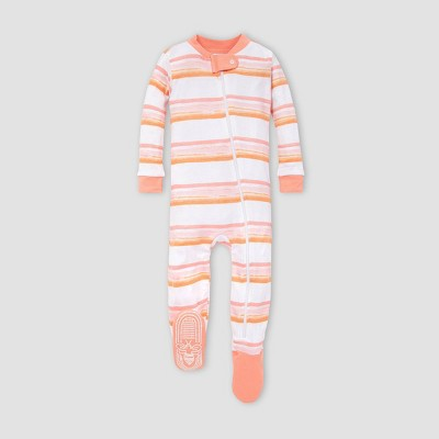 Burt's Bees Baby® Baby Girls' Striped Melted Organic Cotton Footed Pajama - Pink 3-6M