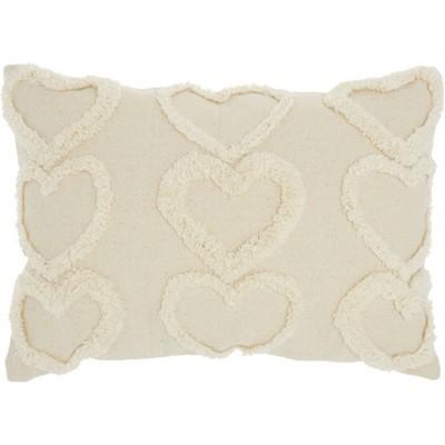 Life Styles Raised Hearts Throw Pillow Cream - Mina Victory