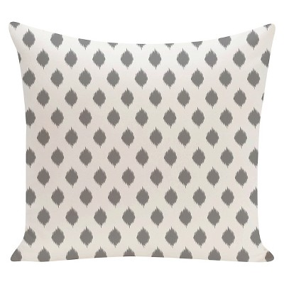 Gray IKAT Geometric Print Throw Pillow Classic (16 x16 )- E By Design