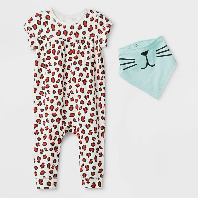 Baby Girls' Bib Romper - Cat & Jack™ White 3-6M
