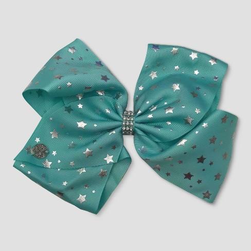 Girls' JoJo Siwa Silver Stars Bow Hairclip - Mint Green - image 1 of 2