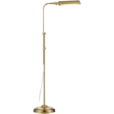 360 Lighting Modern Pharmacy Floor Lamp LED Adjustable Aged Brass Metal Shade for Living Room Reading Bedroom Office