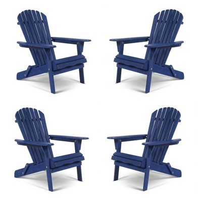 4pc Oceanic Adirondack Chairs - Navy Blue - W Unlimited