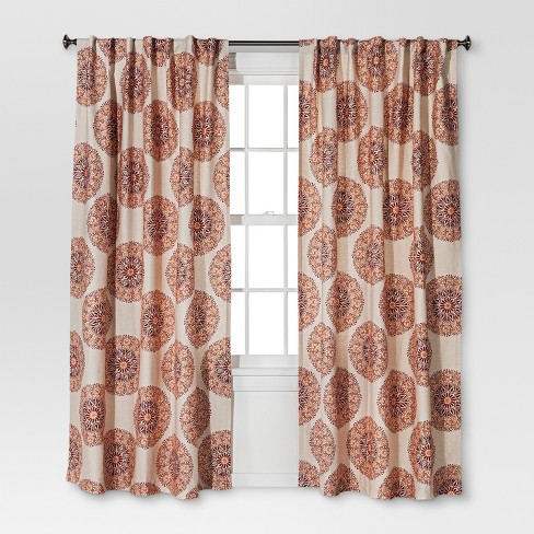 Twill Woven Medallion Curtain Panel Threshold