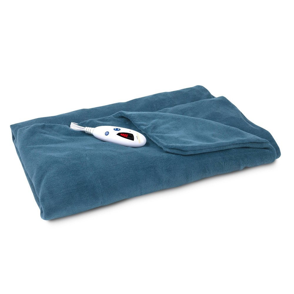 "Image of ""62"""" X 50"""" Microplush Electric Throw Blanket Blue - Biddeford Blankets"""