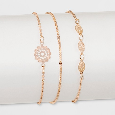 Three Piece with Filigree and Mixed Chain Anklet - Rose Gold - image 1 of 1