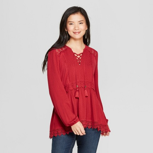 Womens Long Sleeve Lace Up Neck Top Knox Rose Red Target