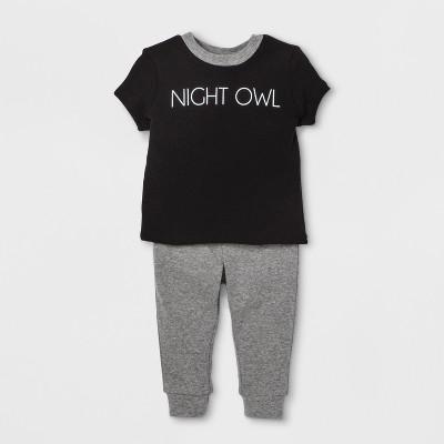 Weekend Soul Baby Night Owl Footed Sleeper - Black 6-9M