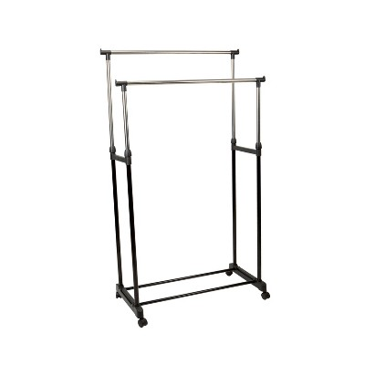 Simplify Double Tier Adjustable Height Rolling Garment Rack