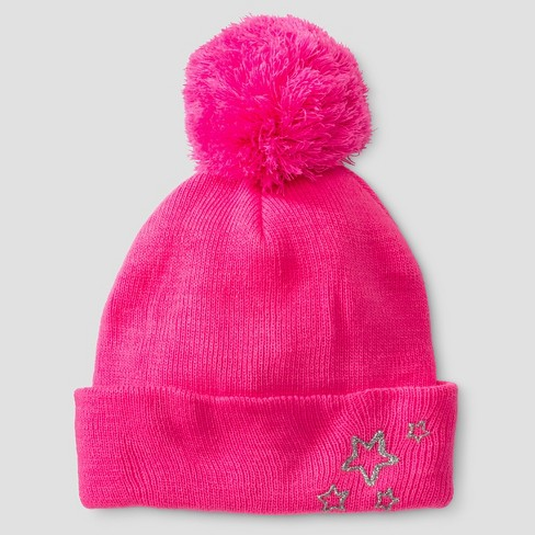 Girls' Beanie with Star Print Pink - Cat & Jack™ Pink One Size - image 1 of 1