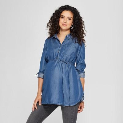 Maternity Denim Long Sleeve Popover Tunic - Isabel Maternity by Ingrid & Isabel™ Medium Wash XS