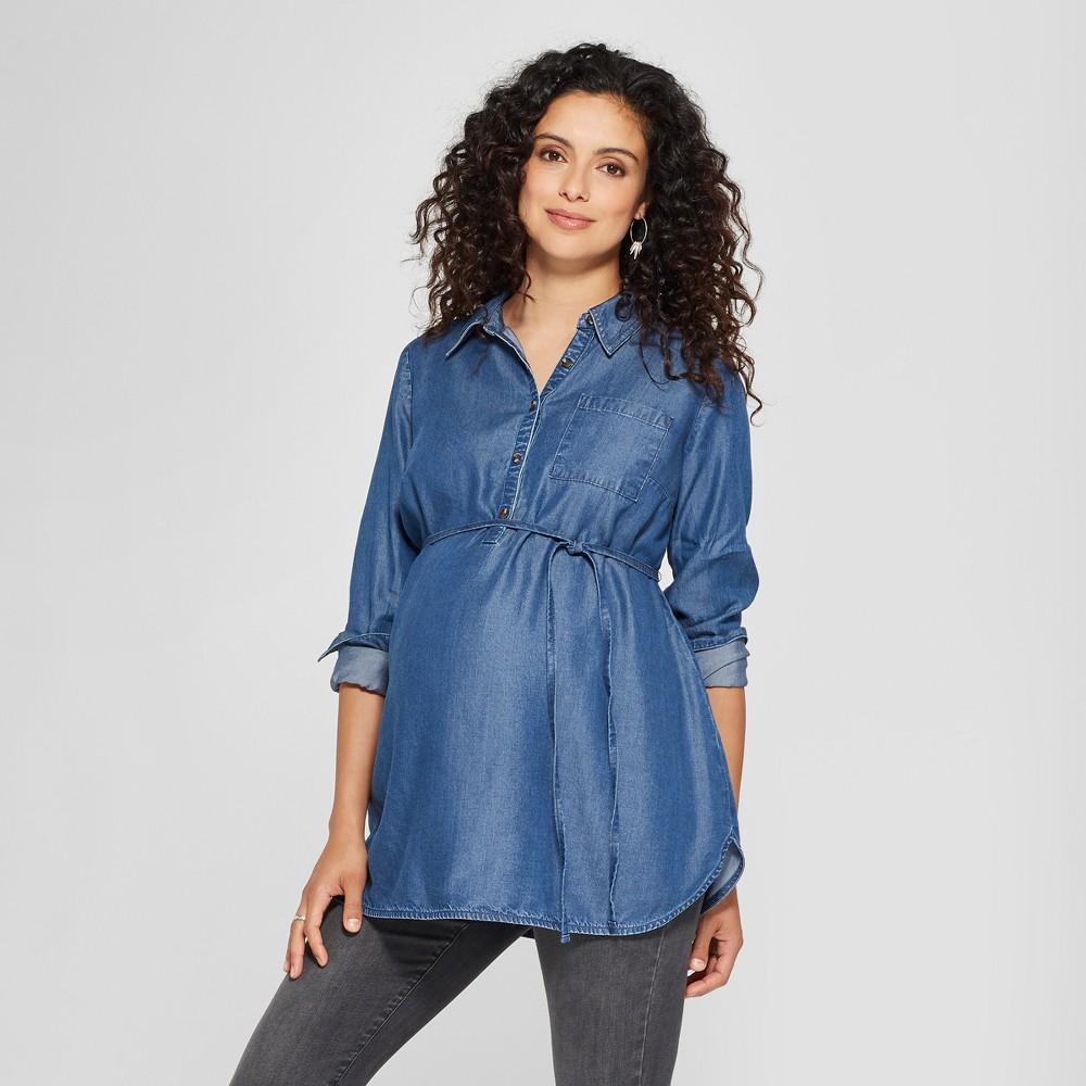 Maternity Denim Long Sleeve Popover Tunic - Isabel Maternity by Ingrid & Isabel Medium Wash S, Women's, Blue