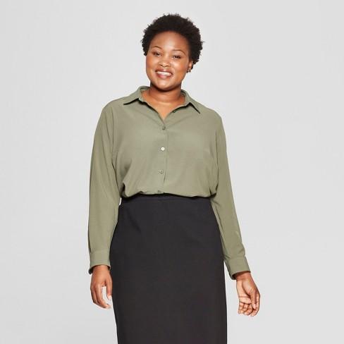 061b5151e7b84b Women s Plus Size No Gap Button-Down Long Sleeve Blouse - Ava   Viv ...