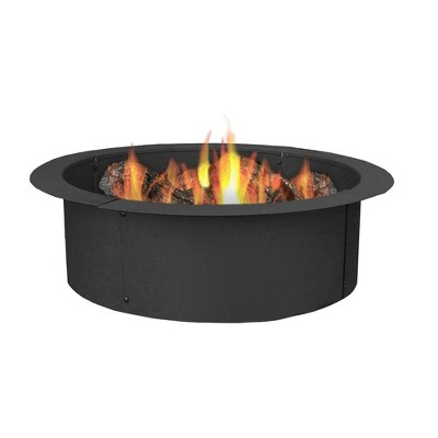 """Sunnydaze Outdoor Heavy-Duty Steel Portable Above Ground or In-Ground Round Fire Pit Liner Ring - 27"""" - Black"""