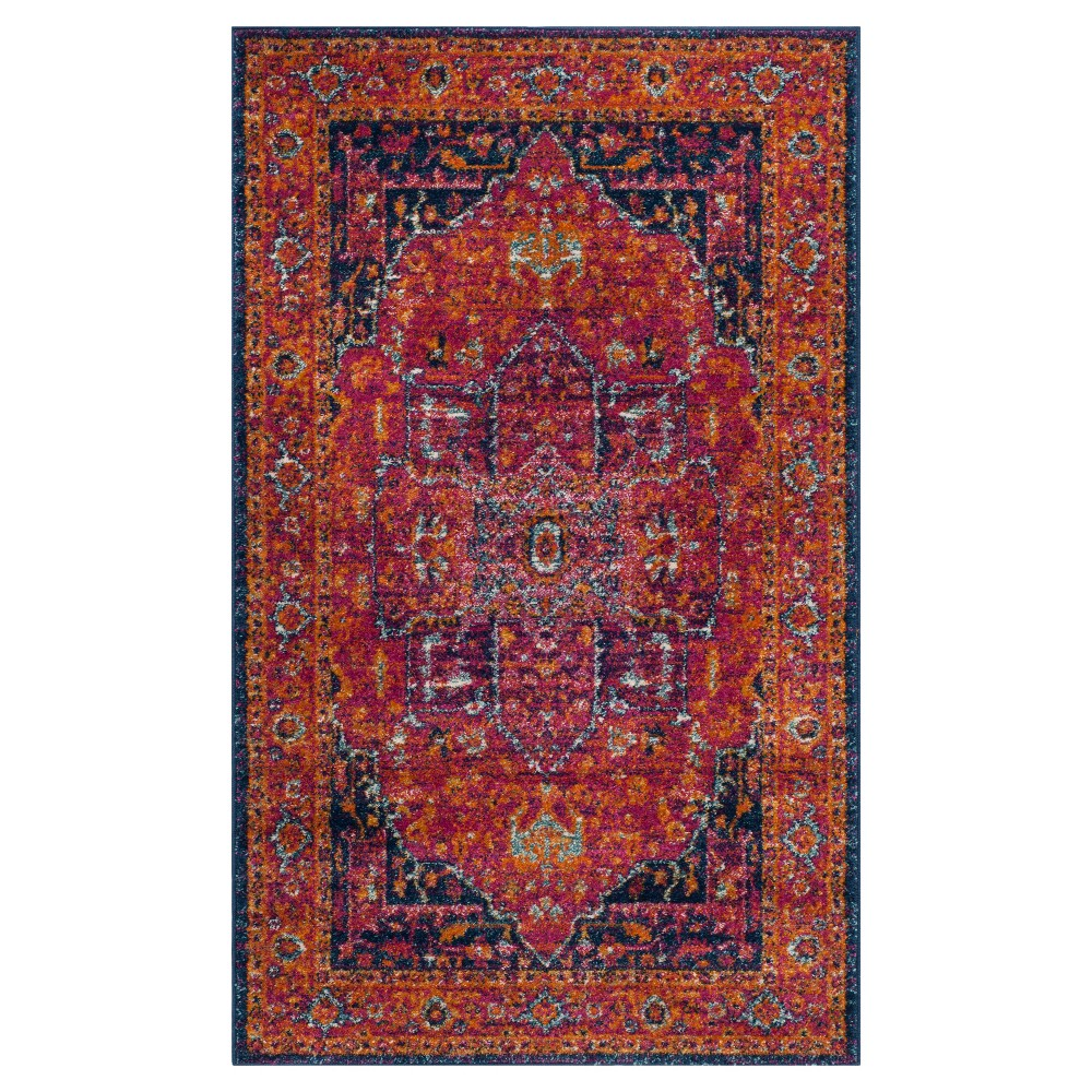 Geometric Loomed Accent Rug Red