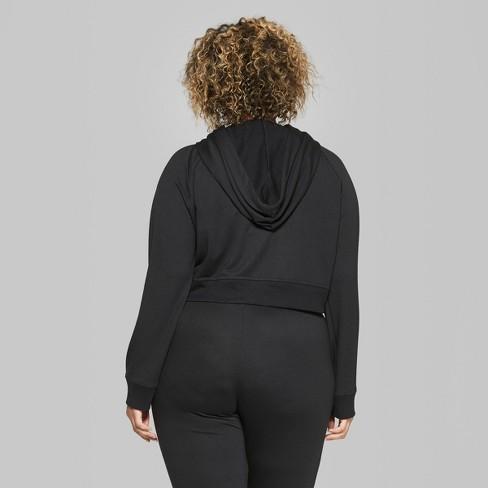 fafdd4e626863 Women s Plus Size Cropped Zip-Up Hoodie - Wild Fable™ Black 1X   Target