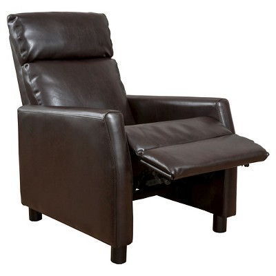 Tabahri Bonded Leather Recliner Club Chair   Brown   Christopher Knight Home