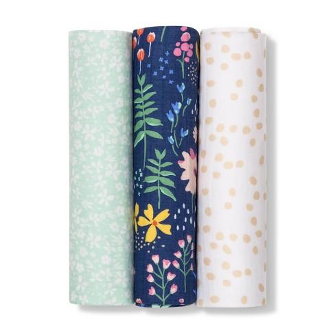 Muslin Swaddle Blanket Wildflower 3pk - Cloud Island™ Floral - image 1 of 2