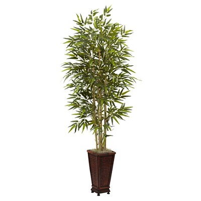 Nearly Natural Bamboo Tree with Decorative Planter Green (6 )