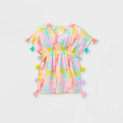 Girls' Woven Tie-Dye Caftan Cover Up - Cat & Jack™ Pink