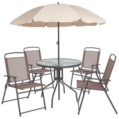 Flash Furniture Nantucket 6 Piece Patio Garden Set with Table, Umbrella and 4 Folding Chairs