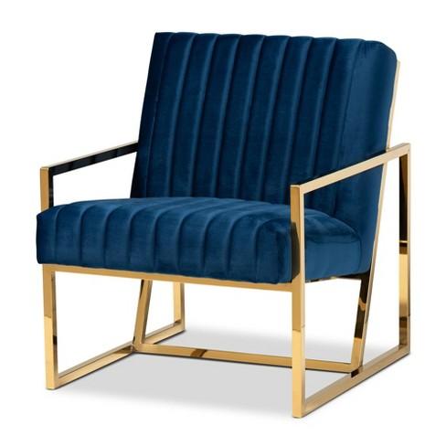 Janelle Velvet Fabric Upholstered Living Room Accent Chair Royal Blue/Gold - Baxton Studio : Target