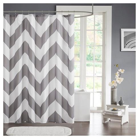 Leo Zig Zag Print Microfiber Shower Curtain Target