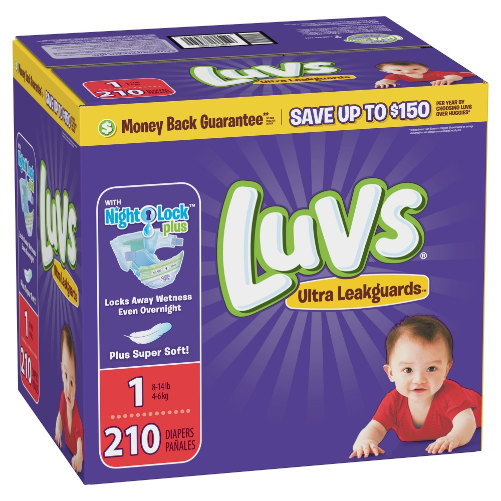 Luvs Disposable Diapers Giant Pack - Size 1 (210ct)