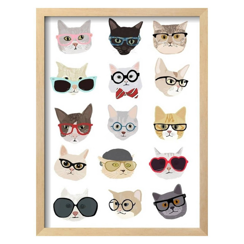 Cats with Glasses By Hanna Melin Framed Wall Art Poster Print 16