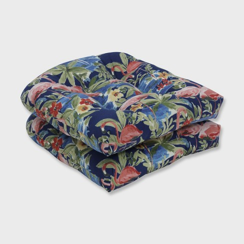 2pk Flamingoing Lagoon Wicker Outdoor Seat Cushion Blue - Pillow Perfect - image 1 of 2